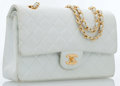 Luxury Accessories:Accessories, Chanel White Quilted Lambskin Leather Medium Double Flap Bag withGold Hardware. ...