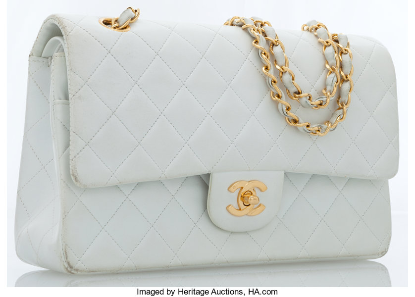 c8dc1d45592458 ... Luxury Accessories:Accessories, Chanel White Quilted Lambskin Leather  Medium Double Flap Bag withGold Hardware ...