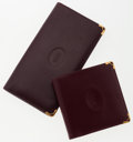 Luxury Accessories:Bags, Cartier Set of Two; Checkbook Wallet & Burgundy Leather BifoldWallet. ... (Total: 2 Items)