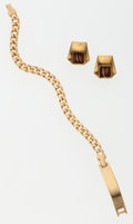 Luxury Accessories:Accessories, Givenchy Set of Two; Gold Bracelet & Gold Earrings. ...