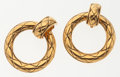 Luxury Accessories:Accessories, Chanel Gold Round Loop Clip-On Earrings. ...