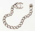 Luxury Accessories:Accessories, Chanel Silver Chain Logo Bracelet with Classic Turnlock Clasp. ...