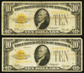 Small Size:Gold Certificates, Fr. 2400 $10 1928 Gold Certificates Two Examples Fine.. ... (Total: 2 notes)