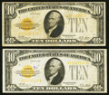 Small Size:Gold Certificates, Fr. 2400 $10 1928 Gold Certificates Two Examples.. ... (Total: 2 notes)