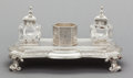 Silver Holloware, British:Holloware, AN EDWARD & JOHN BARNARD VICTORIAN SILVER AND GLASS INK STAND. Edward & John Barnard, London, England, circa 1863-1864. Mark... (Total: 3 )