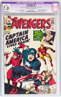 The Avengers #4 (Marvel, 1964) CGC Apparent FN/VF 7.0 Moderate (P) Off-white to white pages