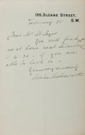 Autographs:Authors, Mary Louisa Molesworth (1839-1921, British novelist and writer ofchildren's stories). Autograph Letter Signed. February 15,...