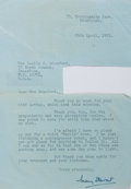 Autographs:Authors, Mary Stewart (English novelist, author of the Merlin series). TypedLetter Signed. April 29, 1975. Typed in an air letter. M...