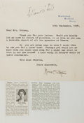 Autographs:Non-American, Marie Carmichael Stopes (1880-1958, British scientist andcampaigner for women's rights). Typed Letter Signed. September10,...