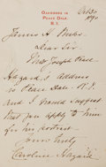 Autographs:Authors, Caroline Hazard (1856-1945, American poet). Autograph Letter Signed. October 30, 1890. Stationery. Measures 3.75 x 6 inches....