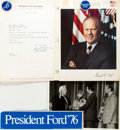 Autographs:Statesmen, Ephemera Related to President Gerald Ford's Campaign. Ca. 1976.Includes bumper stickers, pins and photos. Very good. ...