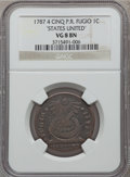 1787 CENT Fugio Cent, STATES UNITED, 4 Cinquefoils, Pointed Rays, VG8 NGC. NGC Census: (29/540). PCGS Population: (34/16...