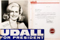 Autographs:Statesmen, Ella Udall (wife of Congressman Mo Udall). Photograph Signed. Ca.1976. Includes material related to Congressman Udall's cam...