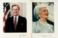 Autographs:U.S. Presidents, George H.W. and Barbara Bush (President and First Lady of theUnited States, 1989-1993). Color Photographs Signed. Ca. 1989....