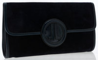 Lanvin Navy Blue Suede Vintage Clutch Bag