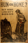 Political:Posters & Broadsides (1896-present), [World War I]. Raleigh. Hun or Home? Buy More Liberty Bonds. Ca. 1918. Tipped onto cardboard backing. Measur...
