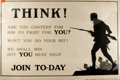 "Political:Posters & Broadsides (1896-present), [World War I]. ""Think! Are You Content for Him to Fight for You?.."". British WWI recruiting poster. Lithograph. Lond..."