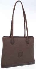 Luxury Accessories:Bags, Loewe Light Brown Canvas Shoulder Bag with Burgundy Leather Straps....