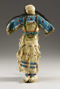 American Indian Art:Beadwork, A SIOUX BEADED HIDE FEMALE DOLL. . c. 1900. ...