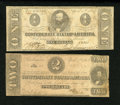 Confederate Notes:1863 Issues, T61 $2 1863. T62 $1 1863.. ... (Total: 2 notes)