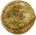 Autographs:Baseballs, Early 1930's Babe Ruth & Lou Gehrig Signed Baseball. Experienced hobbyists are well aware that the Babe never met a sweet s...
