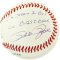 "Autographs:Baseballs, Pete Rose & Bart Giamatti Signed ""Apology"" Baseball. Charlie the Hustler writes the words to the National League president ..."