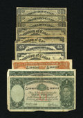 Canadian Currency: , DC-1b-i 25¢ 1870 VG One Example. DC-1c 25¢ 1870 VG Two Examples. DC-15a 25¢ 1900 VG; Fine, damage Two Examples. ... (Total: 10 notes)