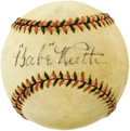 Autographs:Baseballs, Circa 1927 Babe Ruth & Lou Gehrig Signed Baseball. Despite apartnership that served as the foundation of four World Champi...