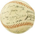 Autographs:Baseballs, 1936 Dizzy Dean & Pepper Martin Signed Baseball. Dating from just two years after the Gashouse Gang planted their Champions...