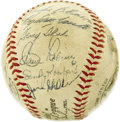 Autographs:Baseballs, 1955 Brooklyn Dodgers Team Signed Baseball. The sixth time was acharm for the long-suffering Bums, who finally got the bes...