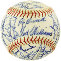 Autographs:Baseballs, 1947 Boston Red Sox Team Signed Baseball. Essentially the same teamthat came within an Enos Slaughter Mad Dash of breaking...