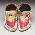 American Indian Art:Beadwork, A PAIR OF HIDATSA QUILLED AND BEADED HIDE MOCCASINS. . c. 1910. ...(Total: 2 Items)