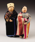 American Indian Art:Textiles, A PAIR OF OSAGE PAINTED HIDE DOLLS. . c. pre-1940. ... (Total: 2Items)