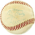 Autographs:Baseballs, 1961 Ty Cobb Signed Baseball. Fewer than five months before hispassing, the greatest star of baseball's Dead Ball Era appl...