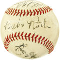 Autographs:Baseballs, Circa 1938 Babe Ruth Signed Baseball. An intriguing congregation offour Hall of Famers leads us to wonder what event might...