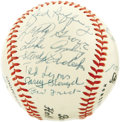 "Autographs:Baseballs, Circa 1970 Hall of Famers Multi-Signed Baseball. Official ""Hall ofFame"" baseball made the rounds at Cooperstown, passing t..."