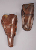 Western Expansion:Cowboy, TWO WESTERN STYLE HOLSTERS - . a) Montgomery Ward & Companymarked; Double loop catalogue holster with ½ skirt and stitched...(Total: 2 Item)