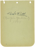 Autographs:Others, 1934 Babe Ruth Signed Album Page. The great Bambino made one youngcollector's day when he applied a wonderfully bold black...