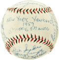 "Autographs:Baseballs, 1957 New York Yankees Team Signed Baseball. A ""lights out""performance in by Milwaukee Braves ace Lou Burdette in Game Seve..."