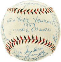 "1957 New York Yankees Team Signed Baseball. A ""lights out"" performance in by Milwaukee Braves ace Lou Burdette..."