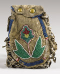 American Indian Art:Beadwork and Quillwork, A PLAINS OR PLATEAU BEADED HIDE POUCH. c. 1890...