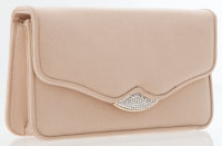 Judith Leiber Beige Fabric Clutch Bag with Shoulder Strap