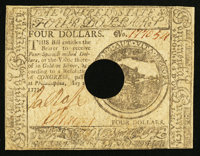 Continental Currency May 20, 1777 $4 Very Fine-Extremely Fine