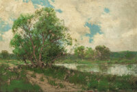 JULIAN ONDERDONK (American, 1882-1922) Quiet Inlet, 1909 Oil on panel 8 x 11-3/4 inches (20.3 x 2