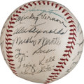 Baseball Collectibles:Balls, 1953 American League All-Star Team Signed Baseball - Mantle's FirstAll-Star Appearance....