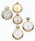 Timepieces:Pocket (post 1900), A Lot Of Five Waltham Pocket Watches For Parts Or Repair. ...(Total: 5 Items)