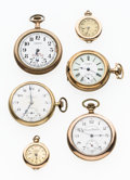 Timepieces:Pocket (post 1900), Four Open Face Pocket Watches and Two Pendant Watches For Parts OrRepair. ... (Total: 6 Items)