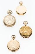 Timepieces:Pocket (post 1900), Three Elgin & One Hampden Hunter's Cases Pocket Watches. ...(Total: 4 Items)