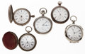Timepieces:Pocket (pre 1900) , A Lot Of Five Pocket Watches For Parts Or Repair. ... (Total: 5Items)