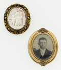 Estate Jewelry:Brooches - Pins, Shell Cameo, Photograph, Gold Brooches. ... (Total: 2 Items)